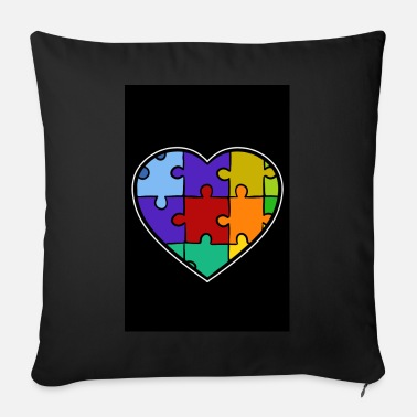 Adhd Symbols Autism Puzzle Heart Down Syndrome Trisomie 21 ADHD - Sofa pillow with filling 45cm x 45cm