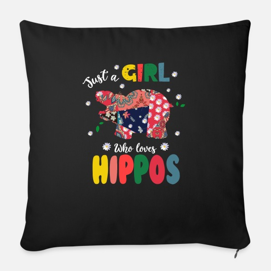 Birthday Pillow Cases - Just a Girl Who Loves Hippos - Sofa pillow with filling 45cm x 45cm black