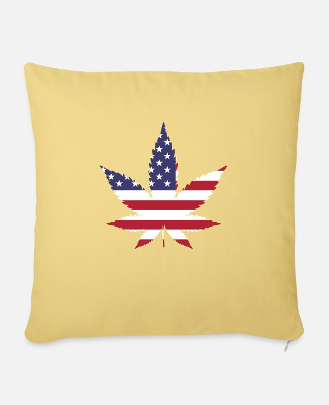 Rastafari Pillow Cases - USA - Weed - Sofa pillow with filling 45cm x 45cm washed yellow