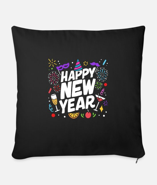 Festival Pillow Cases - Happy New Year Holiday Fireworks Celebration Gift - Sofa pillow with filling 45cm x 45cm black