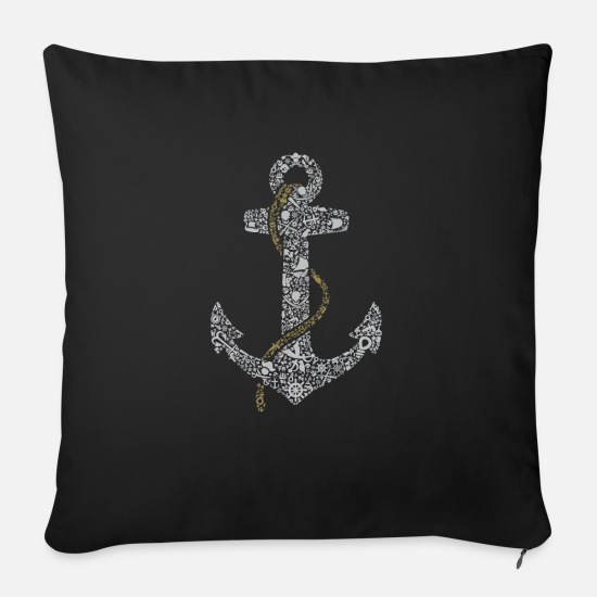 Sailboat Pillow Cases - anchor - Sofa pillow with filling 45cm x 45cm black