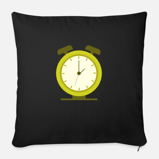 Single Pillow Cases - alarm clock - Sofa pillow with filling 45cm x 45cm black