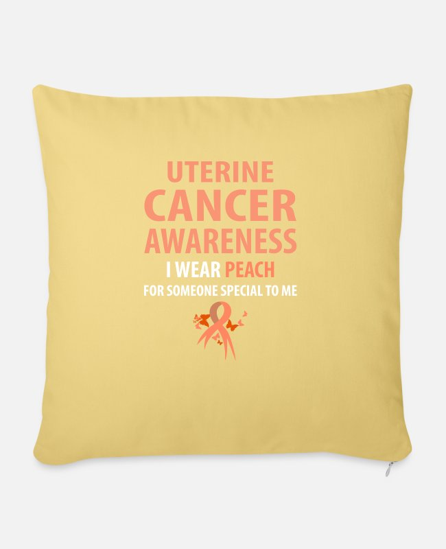 Cancer Survivor Pillow Cases - I Wear Peach For Someone Special To Me - Sofa pillow with filling 45cm x 45cm washed yellow