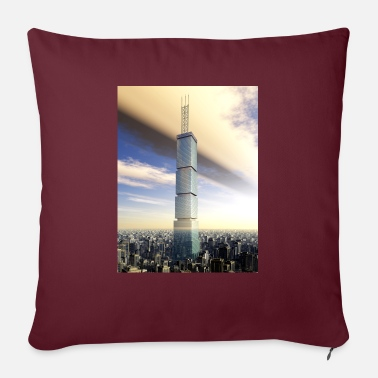 Megacity Huge skyscraper in a megacity - Sofa pillow with filling 45cm x 45cm
