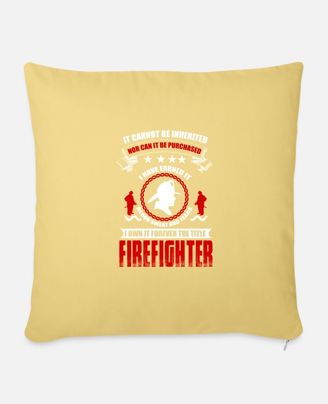 Fire Department Pillow Cases - Firefighters firebrigade fire defense defender new ho - Sofa pillow with filling 45cm x 45cm washed yellow