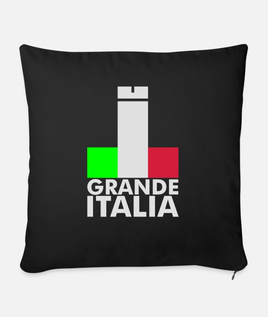 Bandiera Pillow Cases - Italia Italy flag - grande italia - provocative - Sofa pillow with filling 45cm x 45cm black