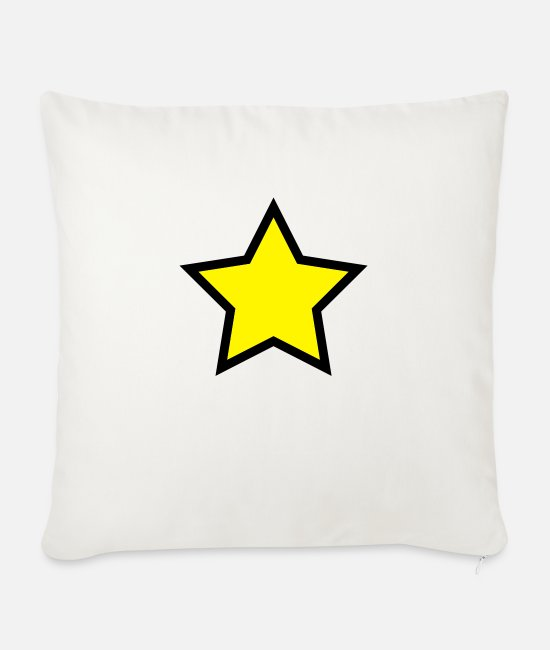 Nature Pillow Cases - Star - Sofa pillow with filling 45cm x 45cm natural white