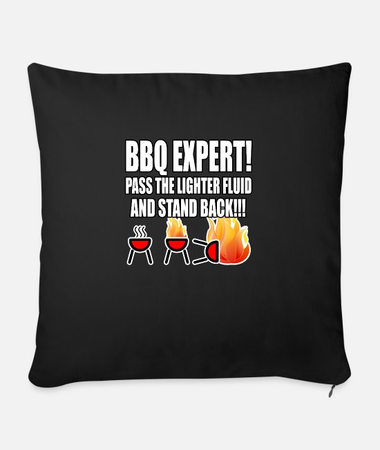 Father's Day Pillow Cases - Fathers Day Dads Birthday - BBQ Expert - Sofa pillow with filling 45cm x 45cm black