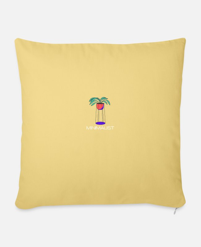Art Pillow Cases - Minimalist Plant Design - Sofa pillow with filling 45cm x 45cm washed yellow