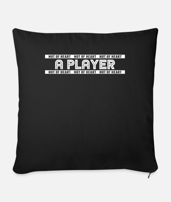 Heart Pillow Cases - player - Sofa pillow with filling 45cm x 45cm black