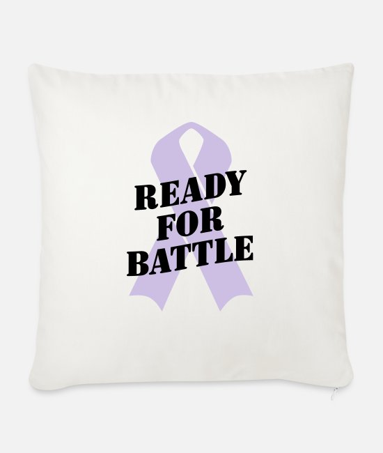 Ready Pillow Cases - Ready for Battle Ribbon - Sofa pillow with filling 45cm x 45cm natural white
