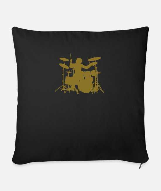 Pearl Pillow Cases - Drums - Sofa pillow with filling 45cm x 45cm black