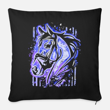 Riding School Riding - rider - riding school - horse head - Sofa pillow with filling 45cm x 45cm