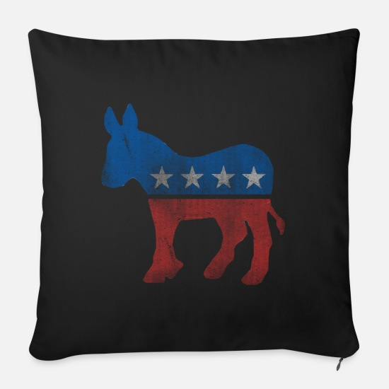 Democrat Pillow Cases - Democrat Donkey Vintage - Sofa pillow with filling 45cm x 45cm black