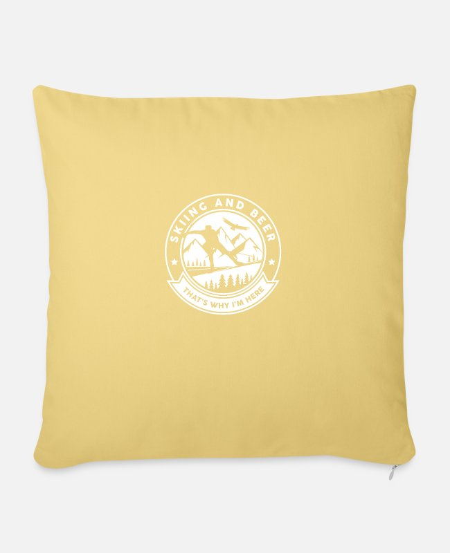 Mountains Pillow Cases - Skiing And Beer That's Why I'm Here Lustig Ski - Sofa pillow with filling 45cm x 45cm washed yellow