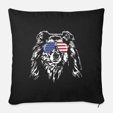 Long-haired Long-haired Herd Dog Long haired COLLIE America flag Wilsigns dogs - Sofa pillow with filling 45cm x 45cm