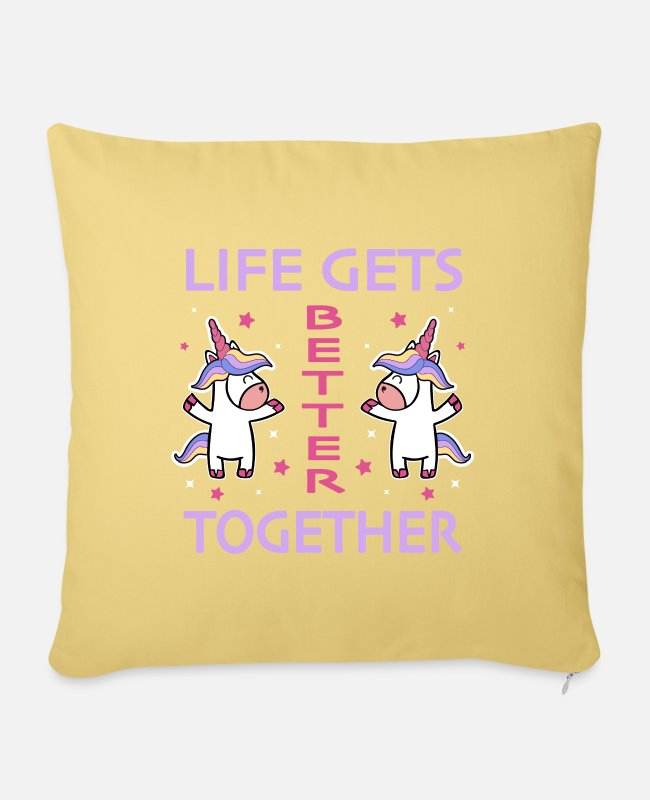 Cute Pillow Cases - Unicorn Mythical Mythical Creatures Loving Couple Girlfriend - Sofa pillow with filling 45cm x 45cm washed yellow