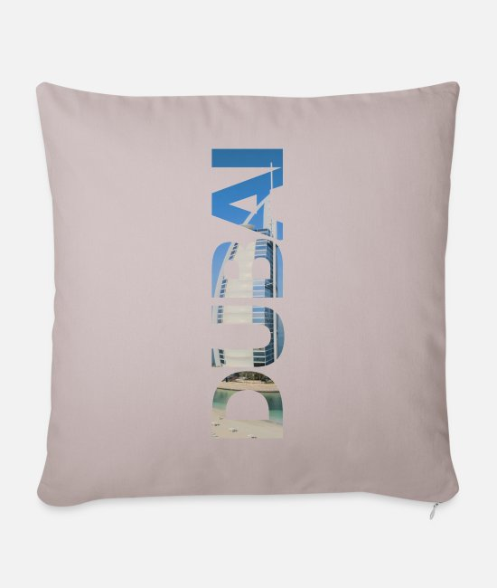 Golf Pillow Cases - Dubai lettering - gift - Sofa pillow with filling 45cm x 45cm light taupe