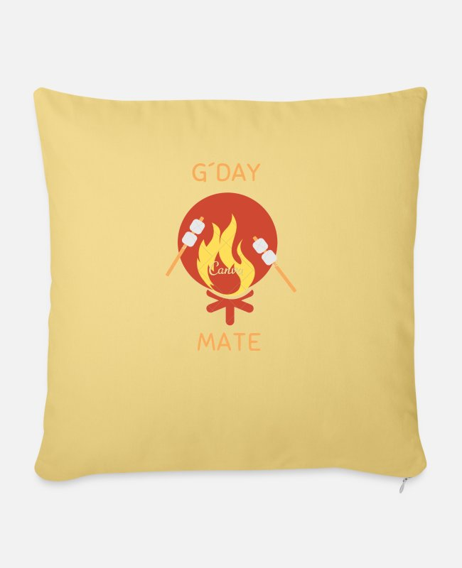 Mateo Pillow Cases - G´Day MATE Australia Humor Gift Ideas - Sofa pillow with filling 45cm x 45cm washed yellow