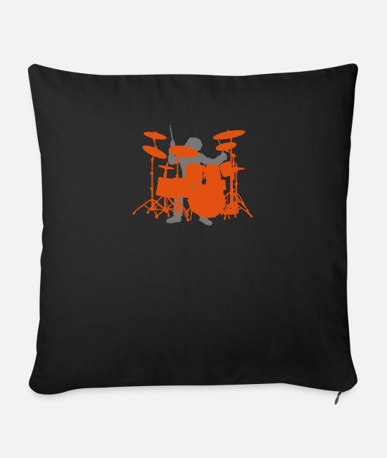Drummer Pillow Cases - Drums - Sofa pillow with filling 45cm x 45cm black