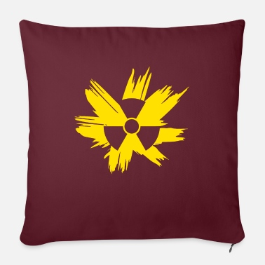 Radioactive Illustration grunge radioactive symbol yellow - Sofa pillow with filling 45cm x 45cm