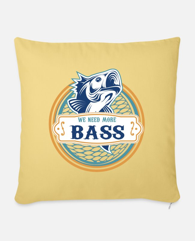 Bass Pillow Cases - Bass perch pike pikeperch spin fishing fish fishing rod - Sofa pillow with filling 45cm x 45cm washed yellow