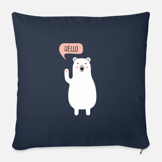 Kids Pillow Cases - Cute Winter Polar Bear Illustration - Sofa pillow with filling 45cm x 45cm navy