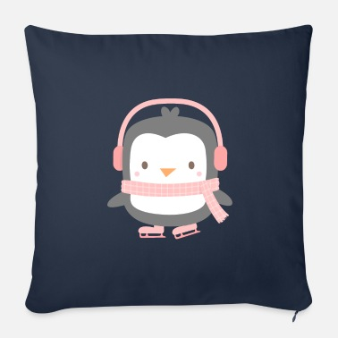 Ice Cute Penguin on Pink Skates - Sofa pillow with filling 45cm x 45cm