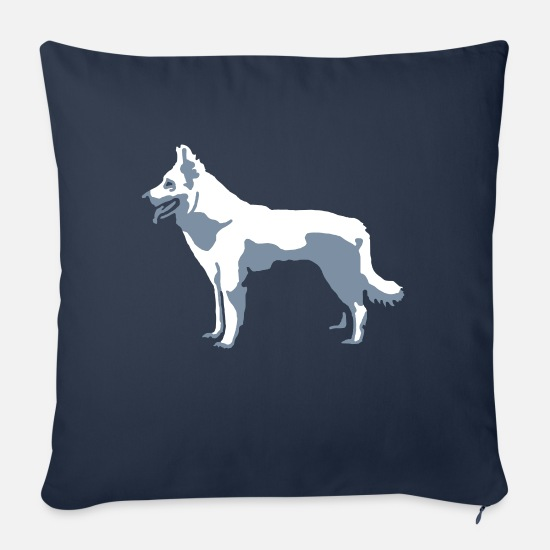 Pet Pillow Cases - White Shepherd - Sofa pillow with filling 45cm x 45cm navy