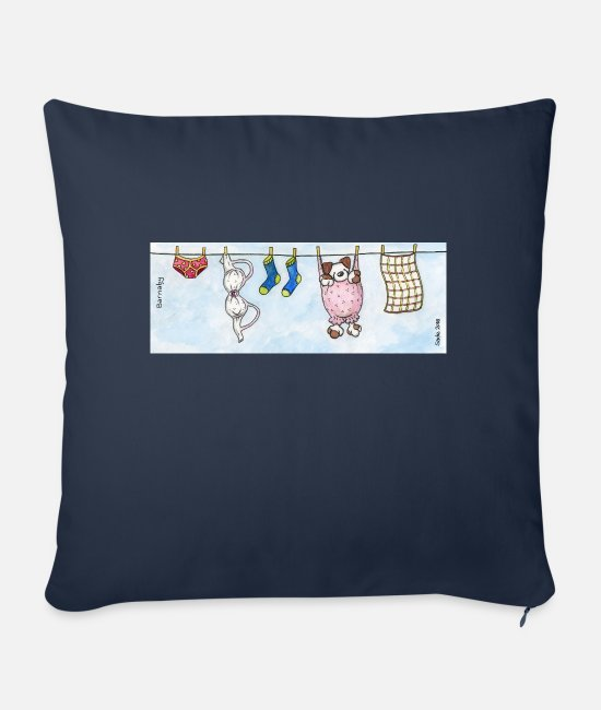 Fluffy Pillow Cases - Mug - Cute Fluffy Dog 'Barnaby' on a Washing Line - Sofa pillow with filling 45cm x 45cm navy