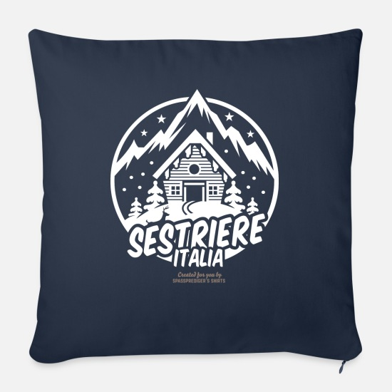 Ski Pillow Cases - Sestriere Italia Ski Resort - Pillowcase 17,3'' x 17,3'' (45 x 45 cm) navy