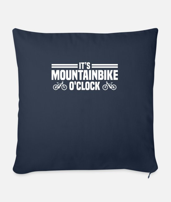 Mountains Pillow Cases - It's mountain bike o'clock - MTB - Sofa pillow with filling 45cm x 45cm navy