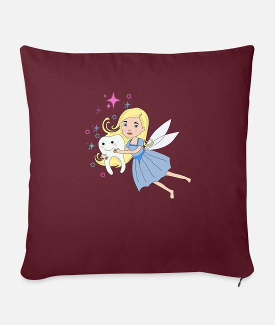 Birthday Pillow Cases - cute little tooth fairy for girls as a gift - Sofa pillow with filling 45cm x 45cm burgundy