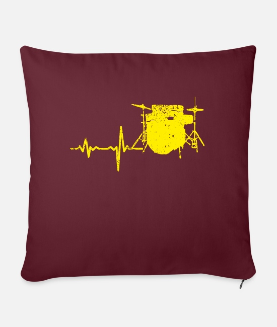 Birthday Pillow Cases - Gift heartbeat drums yellow - Sofa pillow with filling 45cm x 45cm burgundy