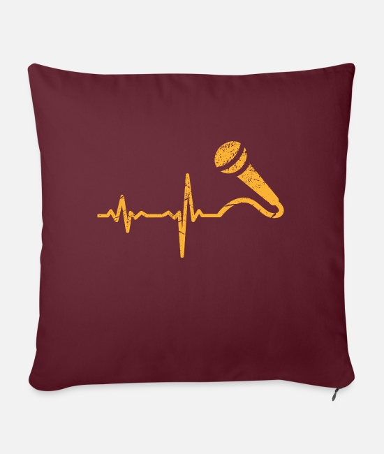 Birthday Pillow Cases - Gift heartbeat singer microphone - Sofa pillow with filling 45cm x 45cm burgundy