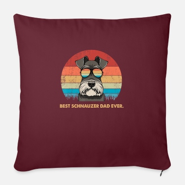 Vintage Dog Vintage Best Schnauzer Dad ever Tshirt Fathers - Sofa pillow with filling 45cm x 45cm