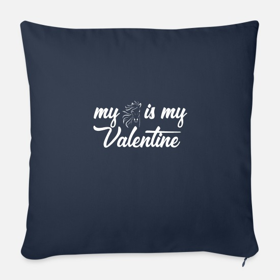 Birthday Pillow Cases - my horse is my valentine horses horse love - Pillowcase 17,3'' x 17,3'' (45 x 45 cm) navy