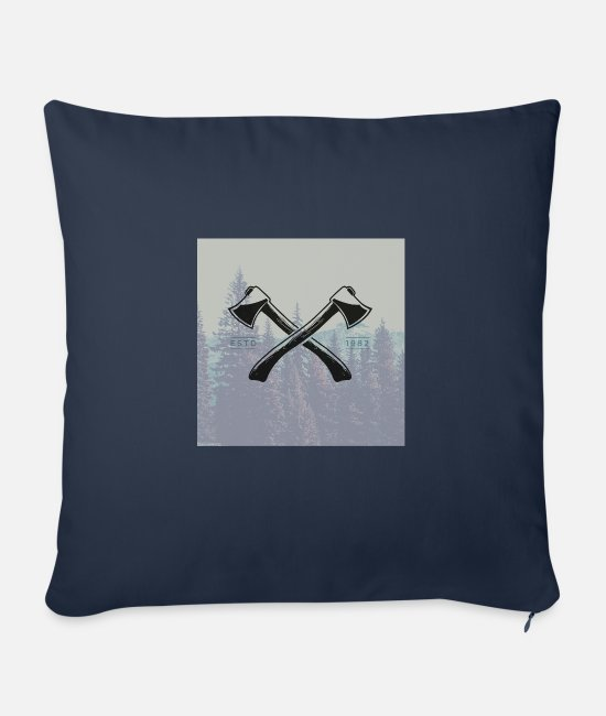 Beard Pillow Cases - Hipster ax tattoo - Sofa pillow with filling 45cm x 45cm navy