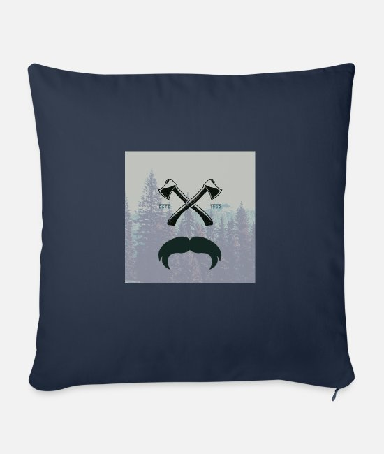 Hipster Pillow Cases - Hipster responsibility beard glasses ax forest - Sofa pillow with filling 45cm x 45cm navy