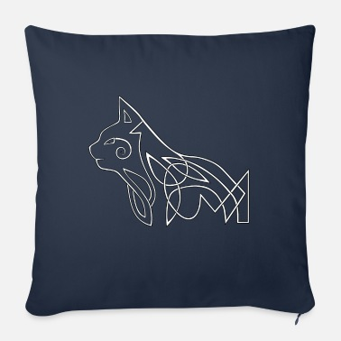 Celtic cat (white) - Sofa pillow with filling 45cm x 45cm