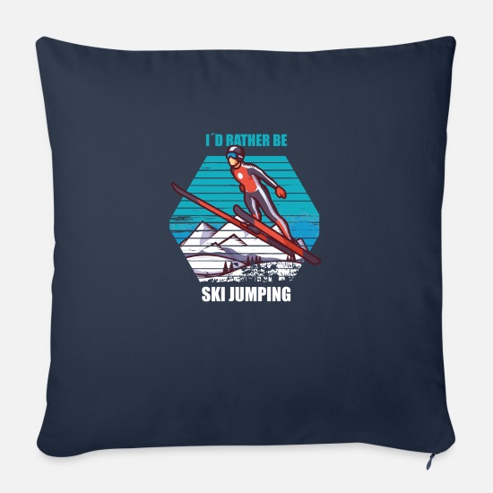 Winter Sports Pillow Cases - I´d rather be ski jumping winter sport ski jumping - Pillowcase 17,3'' x 17,3'' (45 x 45 cm) navy
