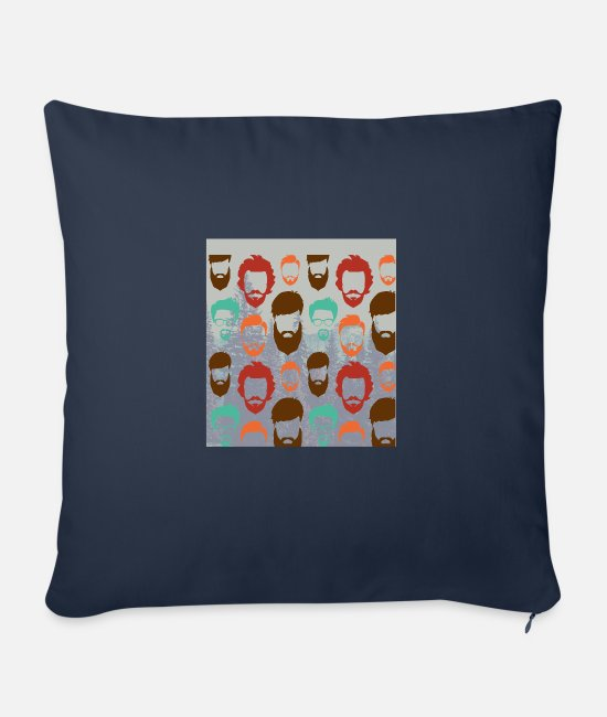 Hipster Pillow Cases - funny hipster beard faces with glases - Sofa pillow with filling 45cm x 45cm navy