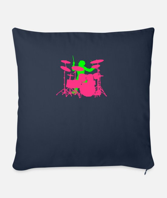 Pearl Pillow Cases - Drums - Sofa pillow with filling 45cm x 45cm navy