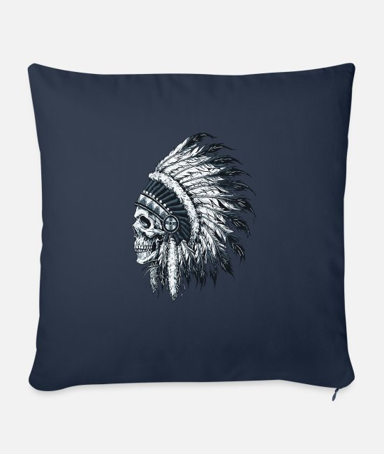 Native Pillow Cases - Indian skull - Sofa pillow with filling 45cm x 45cm navy