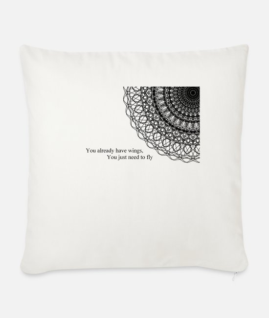 Pilot Pillow Cases - Wings - Sofa pillow with filling 45cm x 45cm natural white