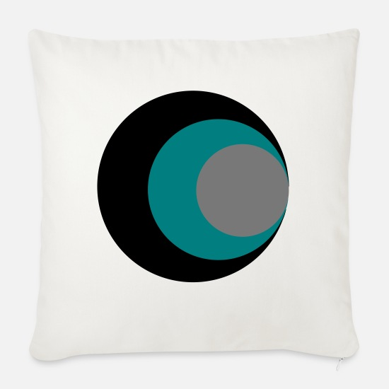 Eye Pillow Cases - circles - Sofa pillow with filling 45cm x 45cm natural white