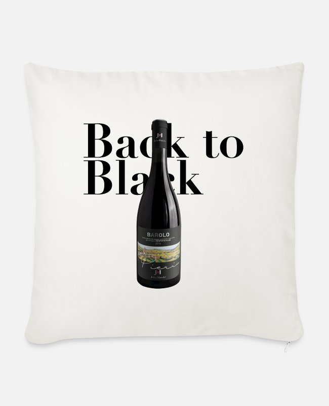 Wine Pillow Cases - Back to Black - Black text - Sofa pillow with filling 45cm x 45cm natural white