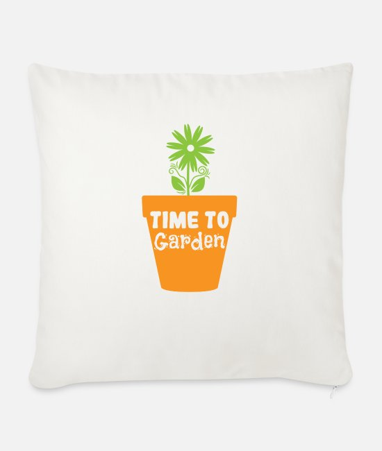 Earth Pillow Cases - Time to Garden - Sofa pillow with filling 45cm x 45cm natural white