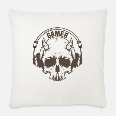 Online Gamer skull with horns and headset - Sofa pillow with filling 45cm x 45cm