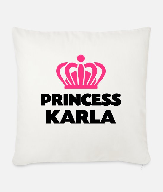 Crown Pillow Cases - Princess karla name thing crown - Sofa pillow with filling 45cm x 45cm natural white